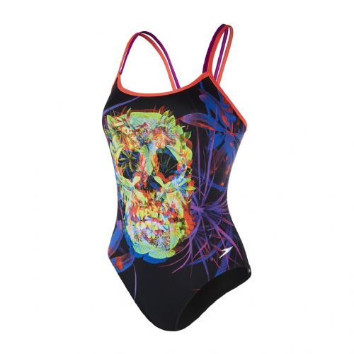 SPEEDO WOMENS/GIRLS SWIMSUIT.NEW PSYCHEDELIC FUSION SKULL SWIMMING COSTUME 8S 43